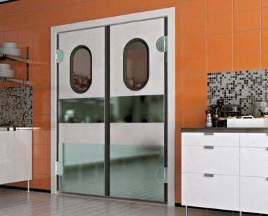 Маятниковая комбинированная дверь